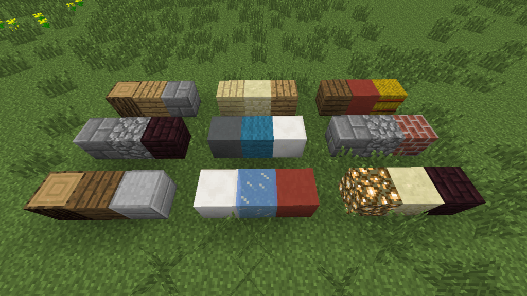 Various block types from the video game Minecraft