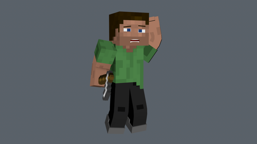 Steve looking confused from the video game Minecraft