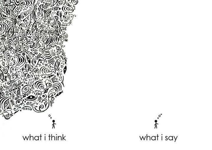Illustration showing the difference between what I think and what I say