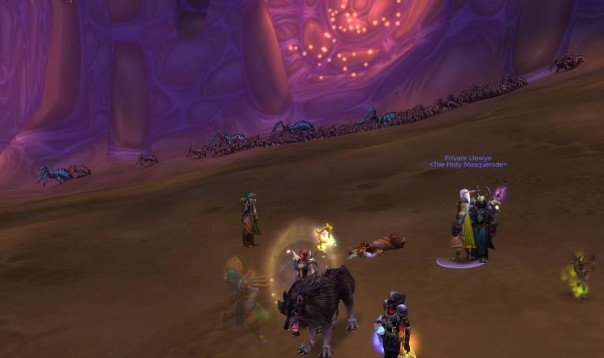Screenshot of characters dying in the video game World of Warcraft