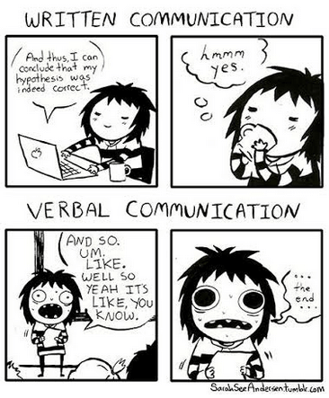 Comic of verbal vs written communication by Sarah See Anderson