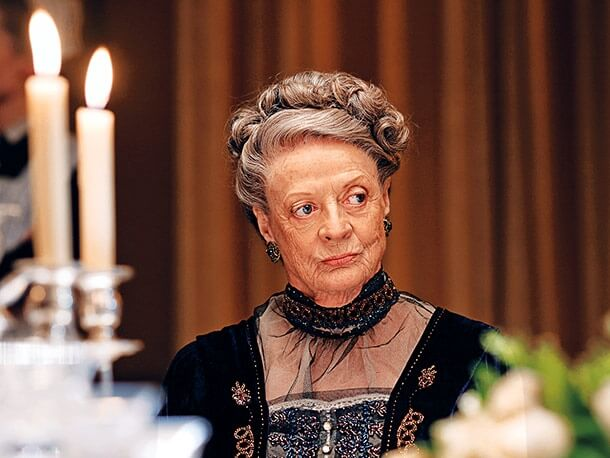 Maggie Smith's character looking unamused in the TV show, Downton Abbey