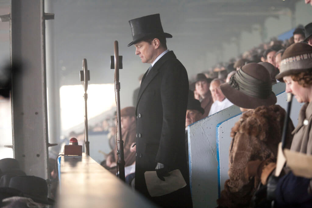 "Bertie pause in the grandstands, an image from the film ""The King's Speech"""