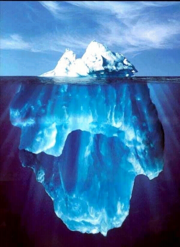 Large iceberg, above and underwater
