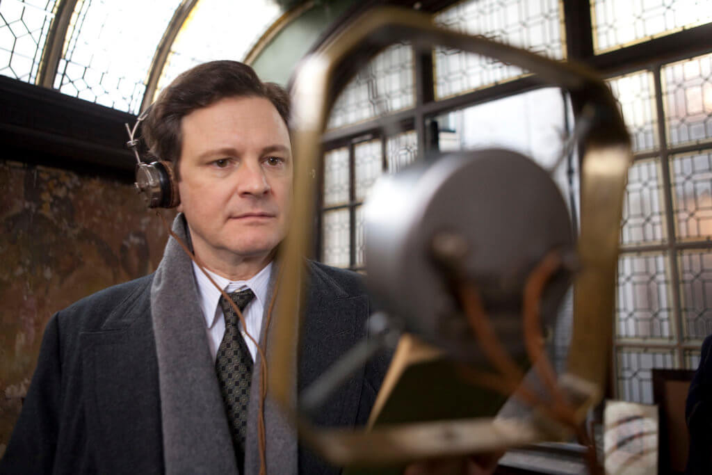 """Bertie staring at a microphone, image from the film """"The King's Speech"""""""