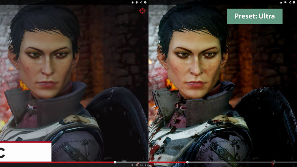 Side-by-side comparison of different graphics resolutions in video games
