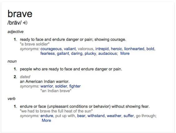 "Definition of ""brave"""