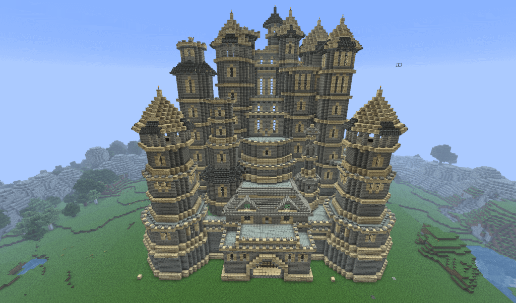 A castle built in the video game Minecraft